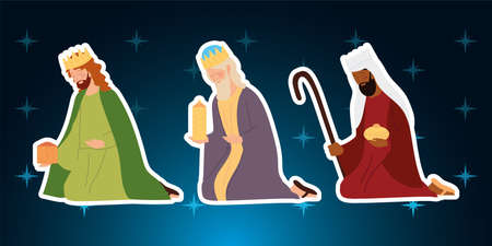 nativity, manger wise kings characters on gradient background vector illustration