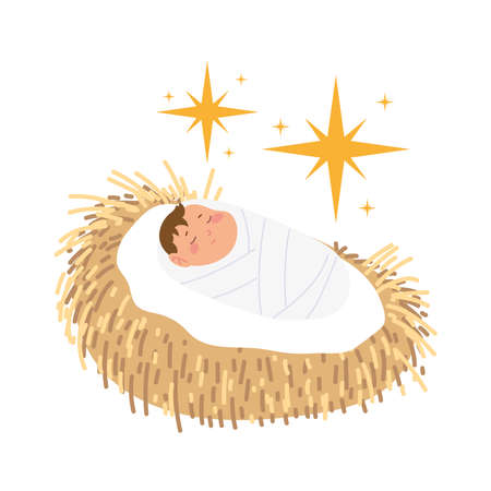 nativity, manger cute baby jesus in the crib cartoon vector illustration