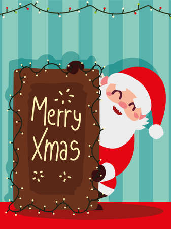 christmas santa claus with board lettering lights decoration striped background vector illustration