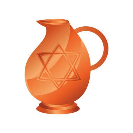 hanukkah, ceramic pitcher classic flat icon vector illustration