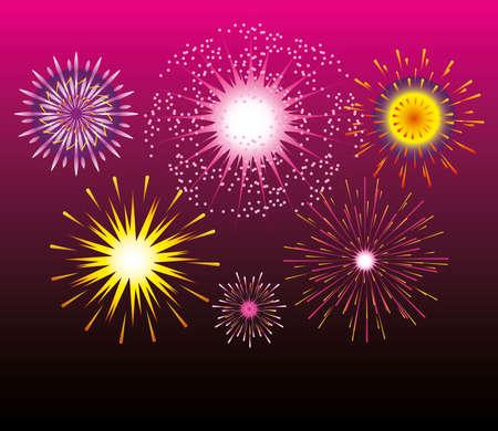 fireworks celebration festive party bright pink gradient background vector illustration