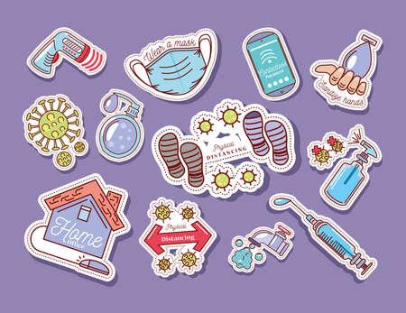 set of coronavirus covid 19 protection and prevention vector illustration sticker icon