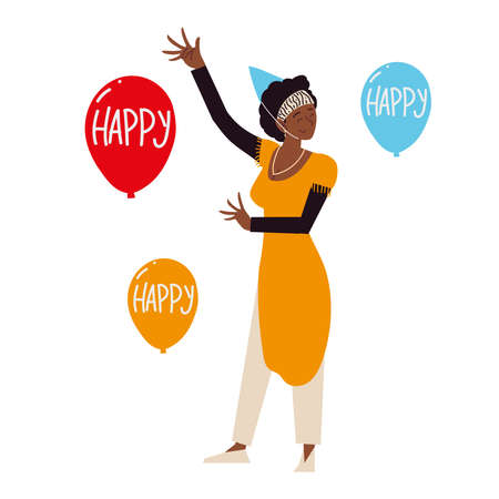 happy afro american woman with party hat and balloons vector illustration