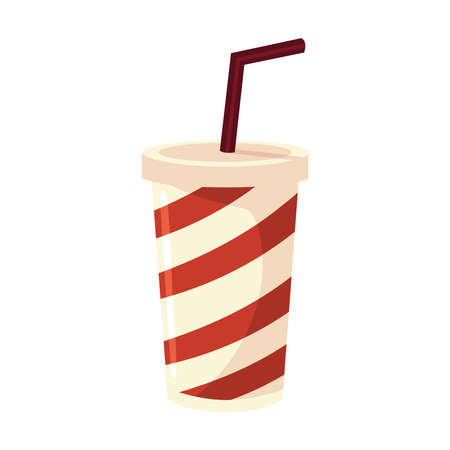 striped takeaway cup with straw soda food icon vector illustration