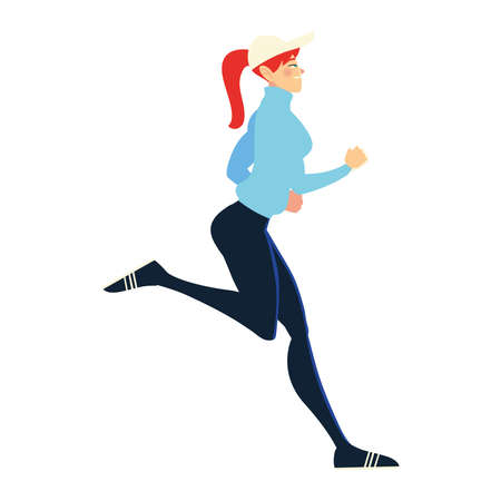 running woman wearing sport cap and clothes, side view vector illustration