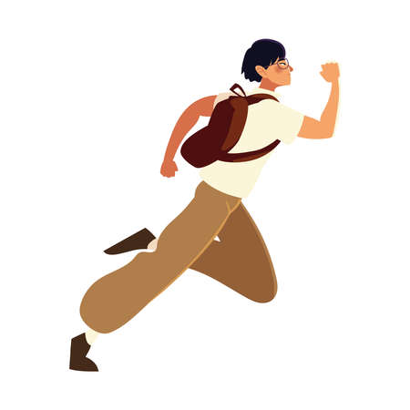 running man with glasses and backpack, side view vector illustration