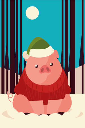 merry christmas cute pig with hat sweater in the snow vector illustration