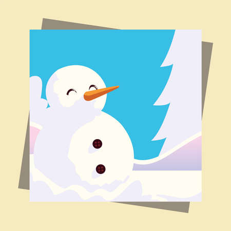 winter season snowman in the snow greeting card vector illustration Vektorové ilustrace