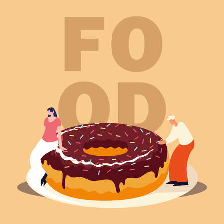 man and woman with chocolate donut sweet food vector illustration