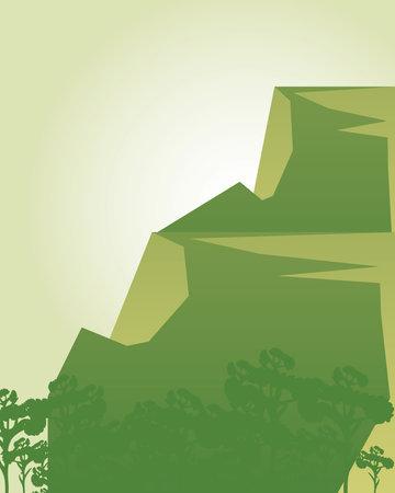 landscape green mountain and trees leafy vegetation nature scene vector illustration