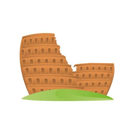 travel coliseum in Italy rome famous historical landmark icon vector illustration