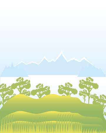 landscape leafy trees hills sea and mountians nature image vector illustration