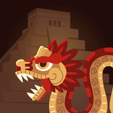 mexican aztec civilization snake and pyramid traditional vector illustration