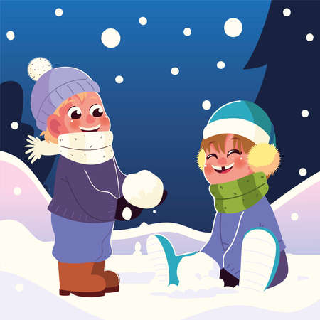 happy kids with earmuffs and scarf playing with snowball vector illustration