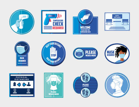prevention of covid 19, safety measures and precautions warning signs, set icons vector illustration