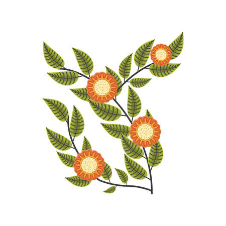 autumn branches flowers leaves nature vector illustration