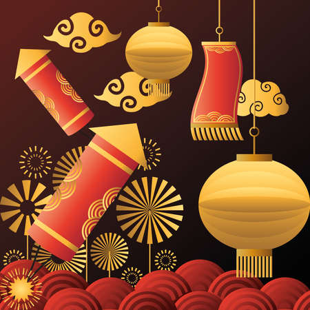 Chinese new year 2021 lamps fireworks and clouds design, China culture and celebration theme Vector illustration Vetores