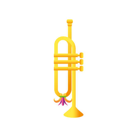 mardi gras trumpet music instrument with feathers vector illustration
