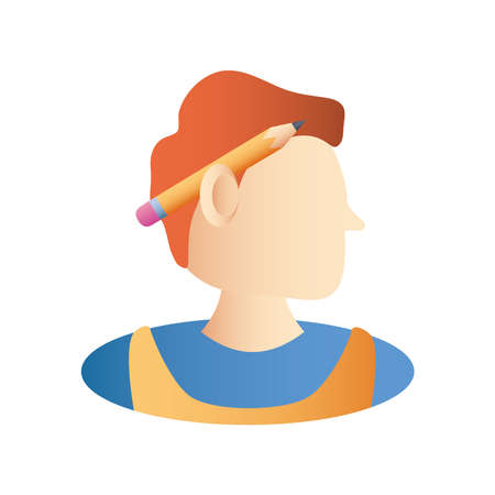 home remodeling, handyman character with pencil to ear icon design vector illustration