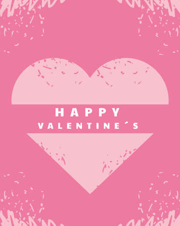 happy valentines day greeting card pink heart decoration grunge design vector illustration
