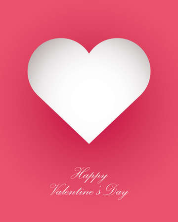 happy valentines day greeting card heart and handwritten lettering vector illustration