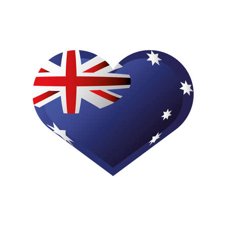 australia day, australian flag in heart celebration icon vector illustration Illusztráció