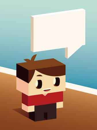 cute boy talk speech bubble, isometric design vector illustration Illusztráció