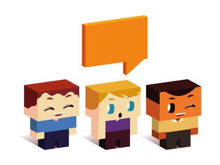 cute group little boys speech bubble cartoon, isometric style vector illustration