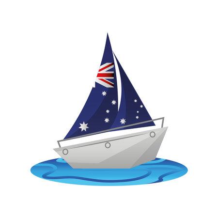 australia day, australian flag vessel ship in the sea vector illustration