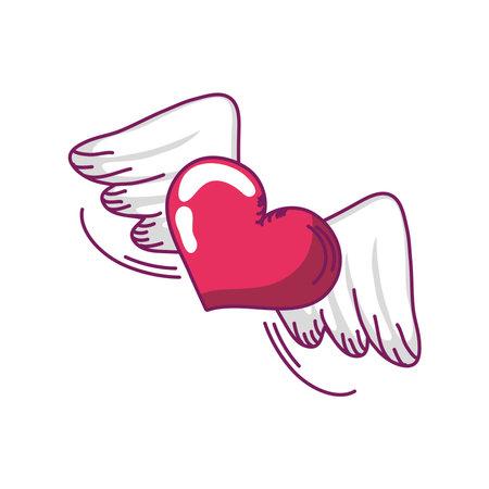 happy valentines day winged heart love romantic hand drawn style vector illustration Illusztráció