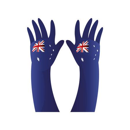 australia day, blue raised hands with australian flag vector illustration