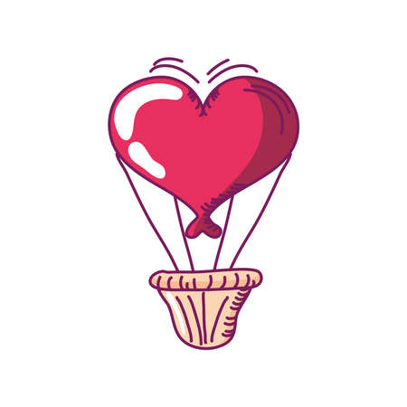 happy valentines day romantic air balloon shaped heart hand drawn style vector illustration Illusztráció