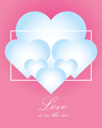 happy valentines day hearts and hand drawn text on pink background card vector illustration