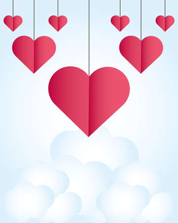 happy valentines day hanging hearts love on clouds sky background card vector illustration