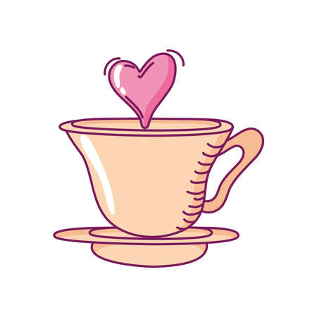 happy valentines day coffee cup love heart romance hand drawn style vector illustration