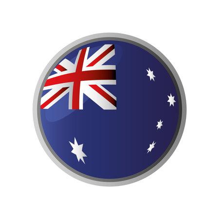 australia day, australian flag button sign icon white background vector illustration Illusztráció