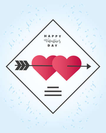 happy valentines day greeting card hearts pierced by an arrow vector illustration