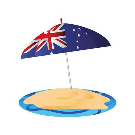 australia day, umbrella in sand beach with australian flag vector illustration