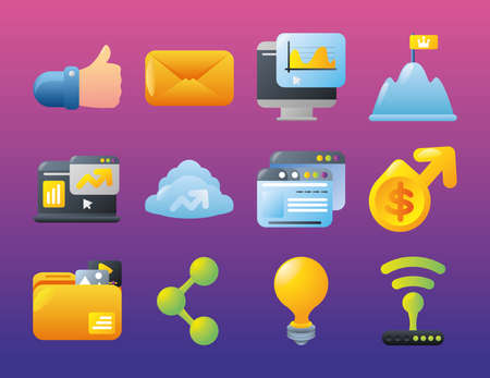 digital marketing icons with like email computer website share content money vector illustration