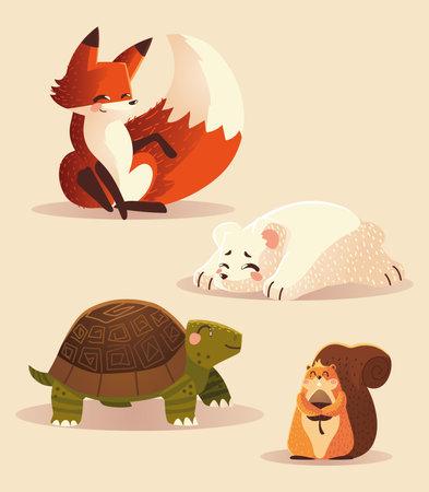 cartoon animals fox turtle squirrel and polar bear wildlife icons vector illustration