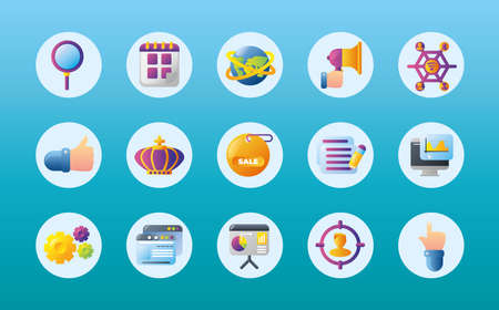 digital marketing, search calendar megaphone announce advertising strategy round icons set vector illustration