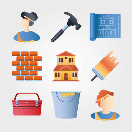 home remodeling icons set wall brick hammer brush color bucket plan vector illustration