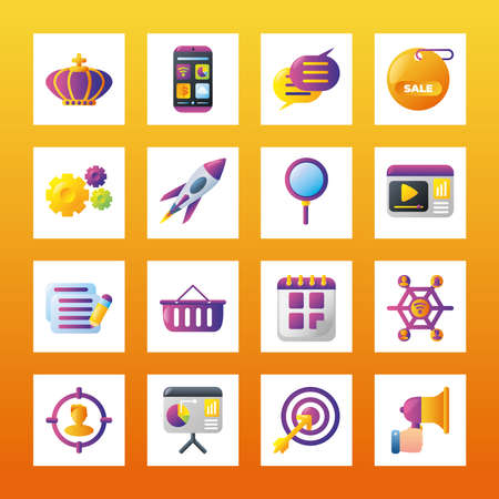 digital marketing smartphone apps message business calendar commerce square icons collection vector illustration 일러스트