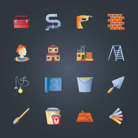 home remodeling toolbox drill bricks ladder blueprint trowel bucket pack icons black background vector illustration