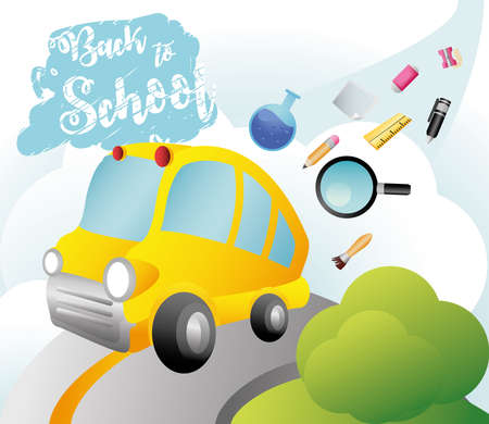 back to school handwritten text bus and many supplies vector illustration