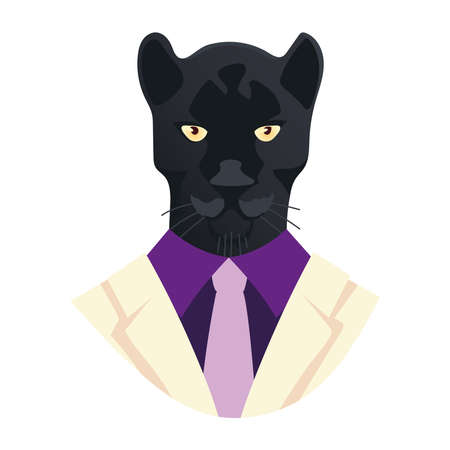people art animal, portrait of panther in suit and tie vector illustration Vettoriali