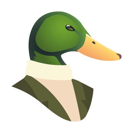 people art animal, duck suit fashion vintage style vector illustration