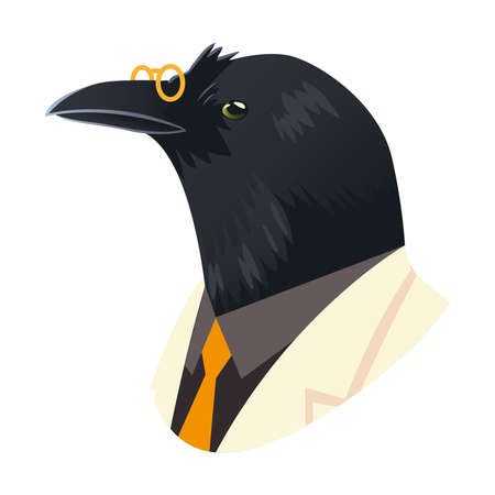 people art animal, crow with glasses dressed in suit vector illustration Vettoriali