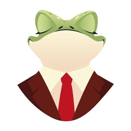 people art animal, portrait frog in suit and red necktie vector illustration
