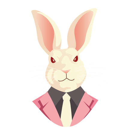 people art animal, rabbit with suit and necktie viintage retro style vector illustration